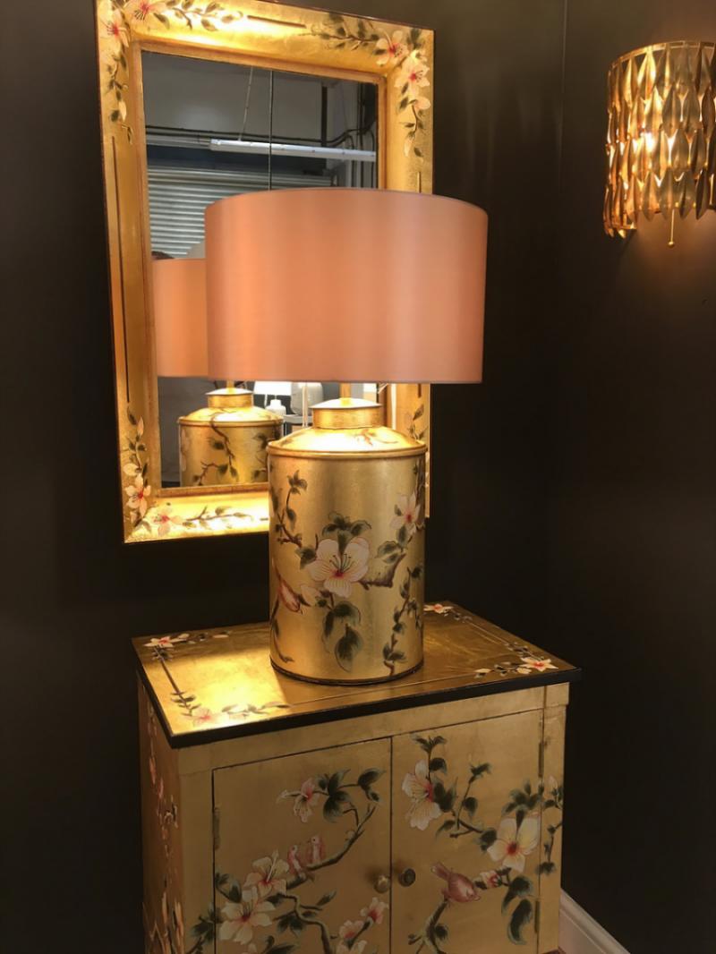 Decorative Gold Lamp & Mirror