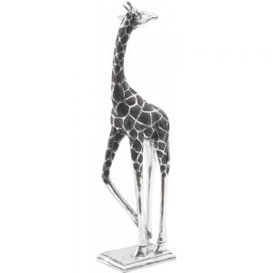 Black & Silver Giraffe Head Backwards Figure