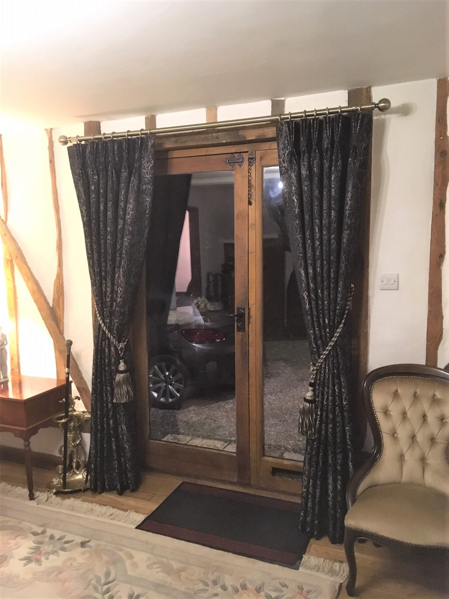 Ashley Wilde Black & Gold Pinch Pleat Curtains