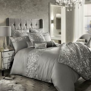 Sparkly Silver Grey Sequined Bedding
