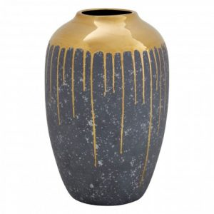 Ceramic Grey & Gold Dripped Urn