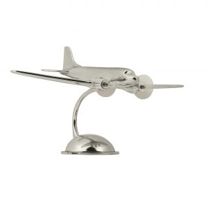 Silver DC-3 Plane on a Stand