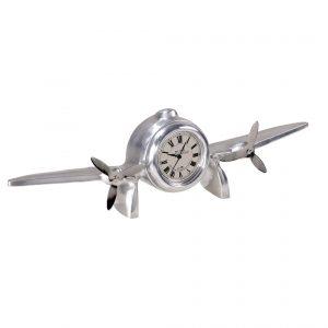 Silver Art Deco Aeroplane Clock