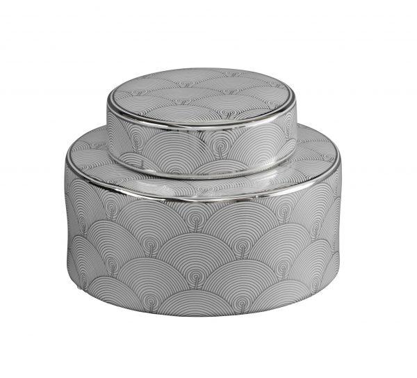 Ceramic Silver & White Art Deco Jar Small