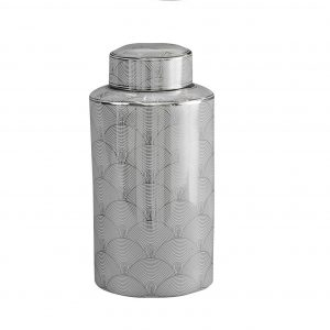 Ceramic Silver & White Art Deco Tall Jar