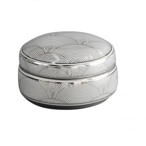 Ceramic Silver & White Art Deco Tricket Box