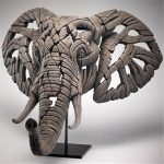 Carved Elephant Head Sculpture on Stand