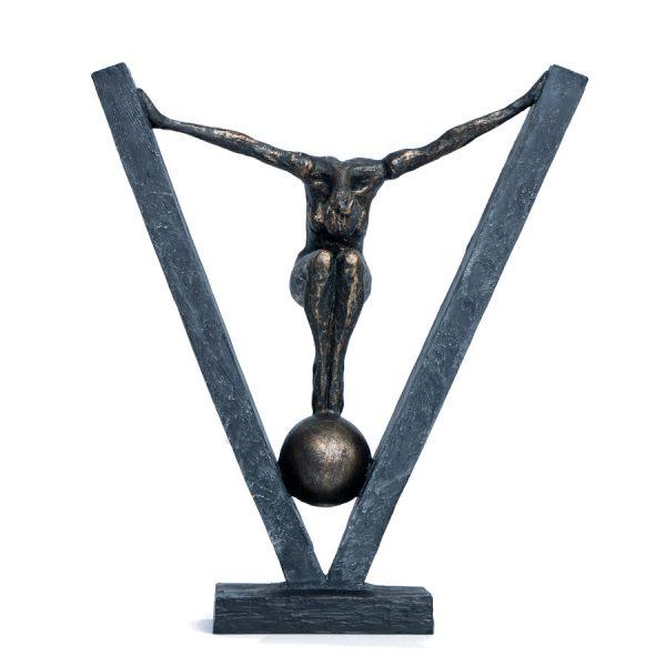 Female Bronze Figure on Ball