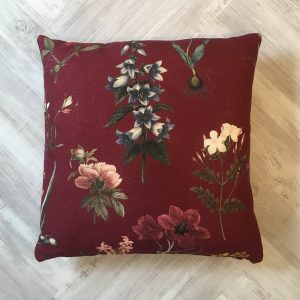 Jab Dark Red Floral Cushion