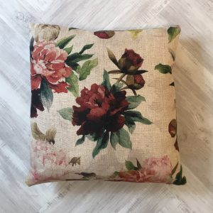 Jab Natural Cushion with Large Red Flowers