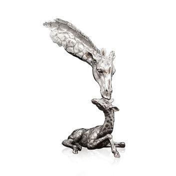 Giraffe & Calf Nickel Sculpture