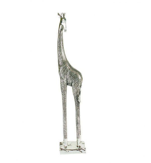 Tall Silver Giraffe Figure