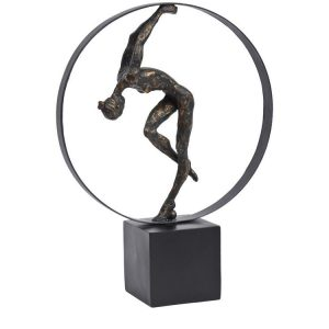 Bronze Gymnast Female in Hoop Scuplture