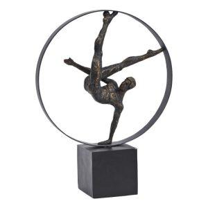 Bronze Gymnast Male in Hoop Sculpture