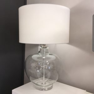 glass table lamp with cream shade