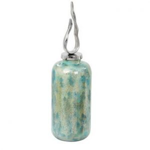 Aqua Mottled Ceramic Tall Bottle with Decorative Silver Top