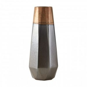 Ceramic Copper & Grey Geometric Vase
