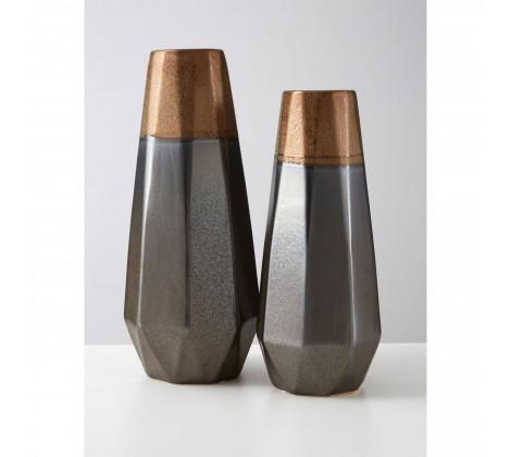 Ceramic Copper & Grey Geometric Vase
