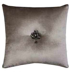 Taupe Velvet Cushion with Brooch
