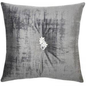 Grey Velvet Cushion with Brooch
