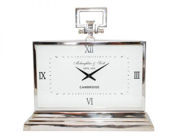 Large Silver Matel Clock with Roman Numerals