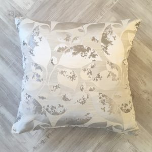 White and Silver Leafy Cushion