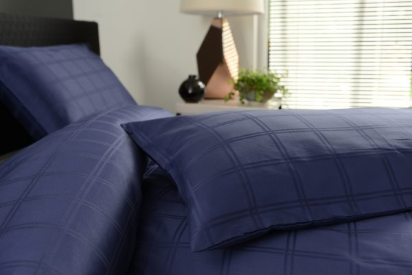 Navy Blue Jacquard Checked Bedding