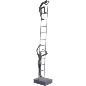 Bronze Men Climbing Ladder Figure