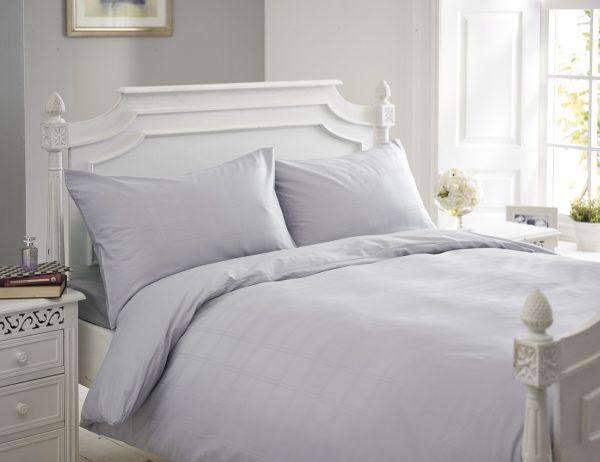 Silver Grey Jacquard Checked Bedding