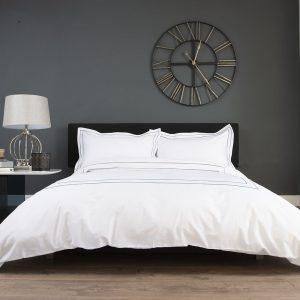 White Hotel Look Bedding with Silver Embroidered Border