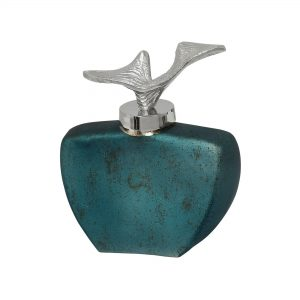 Teal Purfume Bottle with Curver Silver Top