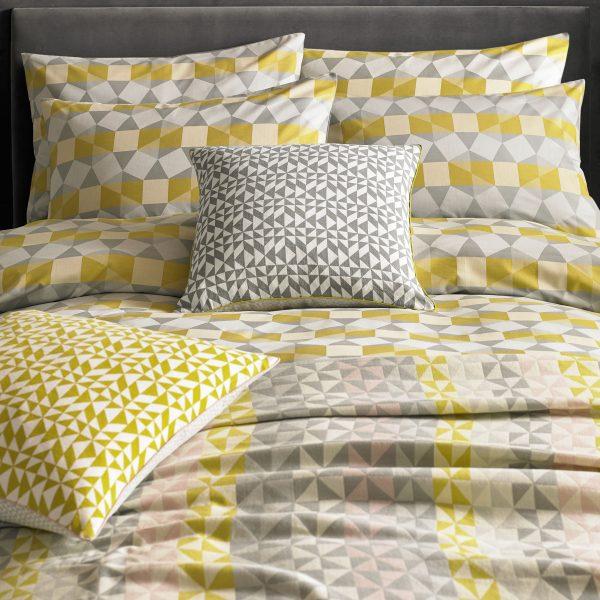Bright Yellow & Grey Gemotric Bedding