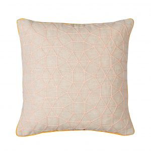 Pink Embroidered Cushion with Yellow Piping