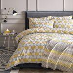 Yellow, Grey & White Pentagonal Bedding