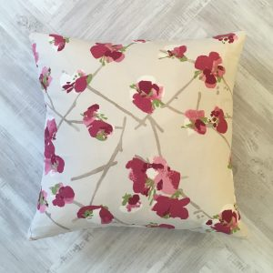 Romo Pink Floral on Cream Background Cushion