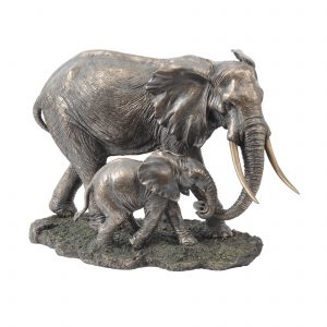 Elephant & Calf Bronze Sculpture