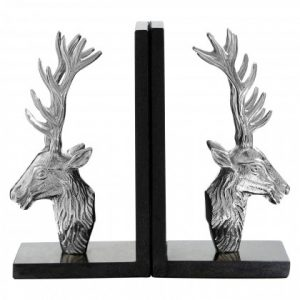 Silver & Black Marble Stag Bookends