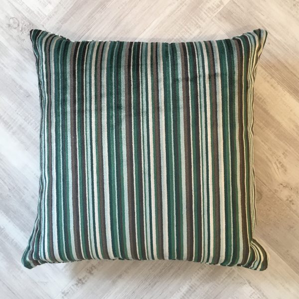 Green and Dark Grey Velvet Stripe Cushion