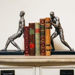 Silver & Black Strong Men Bookends