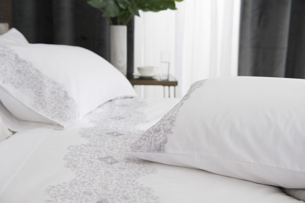 White Bedding with Silver Embroidered Design