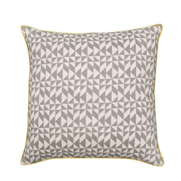 Dark Grey Geometric Cushion with Yellow Piping