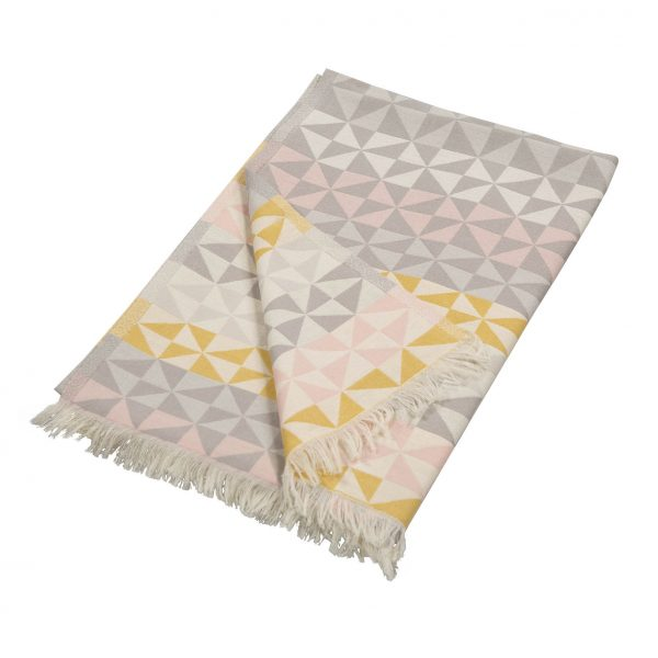 Knitted Geometric Pink, Yellow & Grey Throw