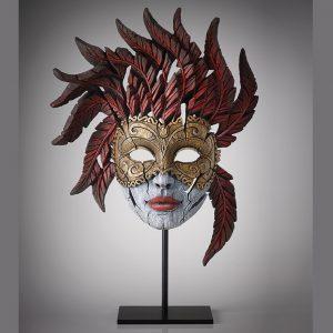 Red & Gold Venetian Mask on Stand