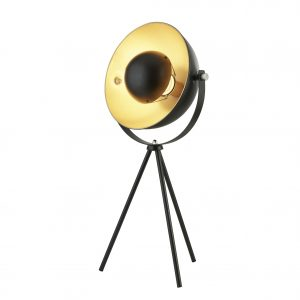 Searchlight Black & Gold Tripod Side Lamp