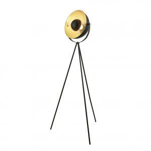 Searchlight Black & Gold Tripod Floor Lamp