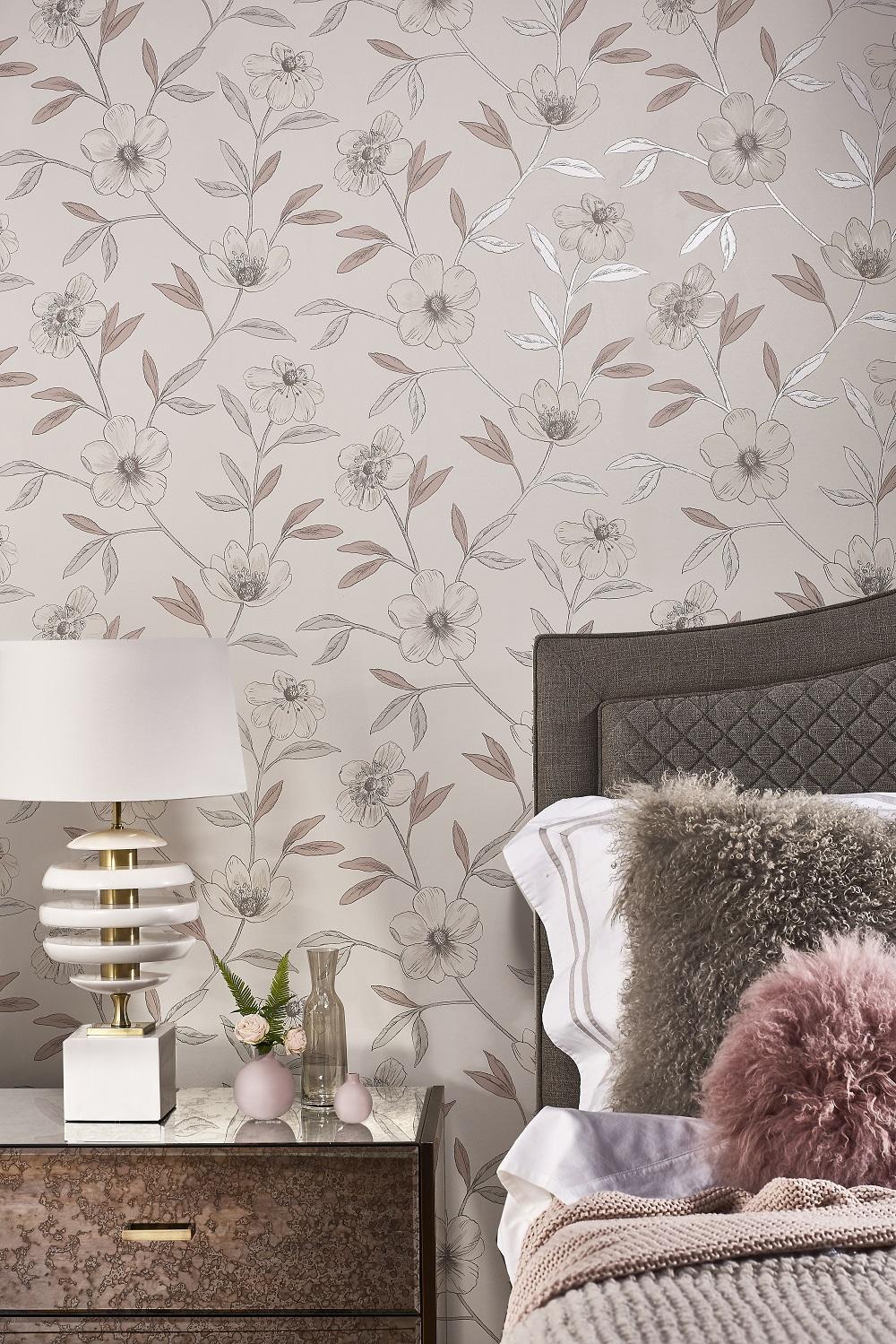 Pale Pink Floral Wallpaper