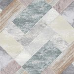 Diamond Patterened Rug in Soft Blues Purples & White