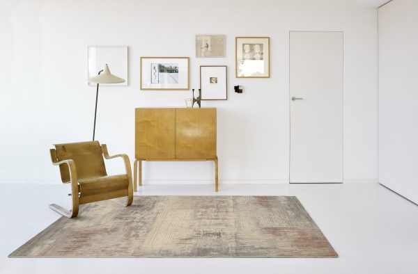 Rug with Rust, Brown & Cream Modern Pattern