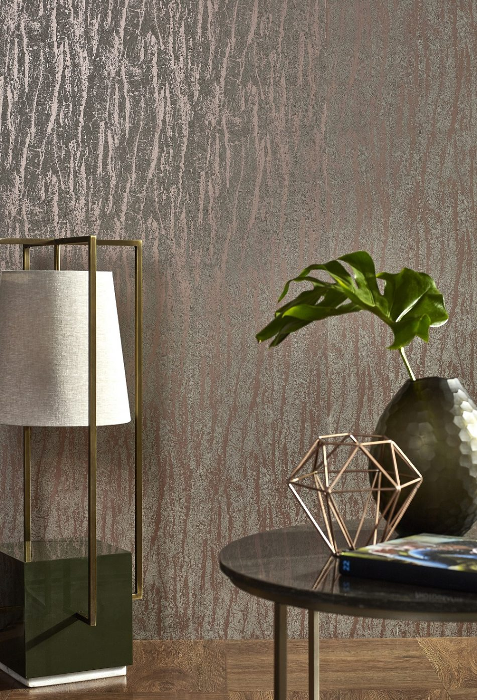 Tree Bark Effect Copper Wallpaper