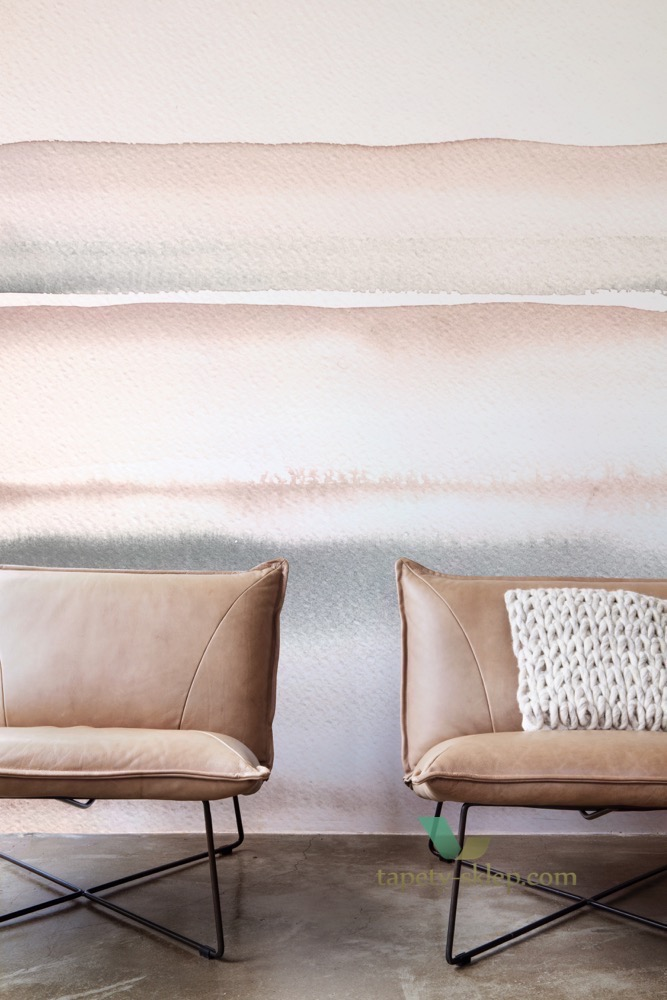 BN Glassy Mural Wallcovering Pink Watercolour Stripe